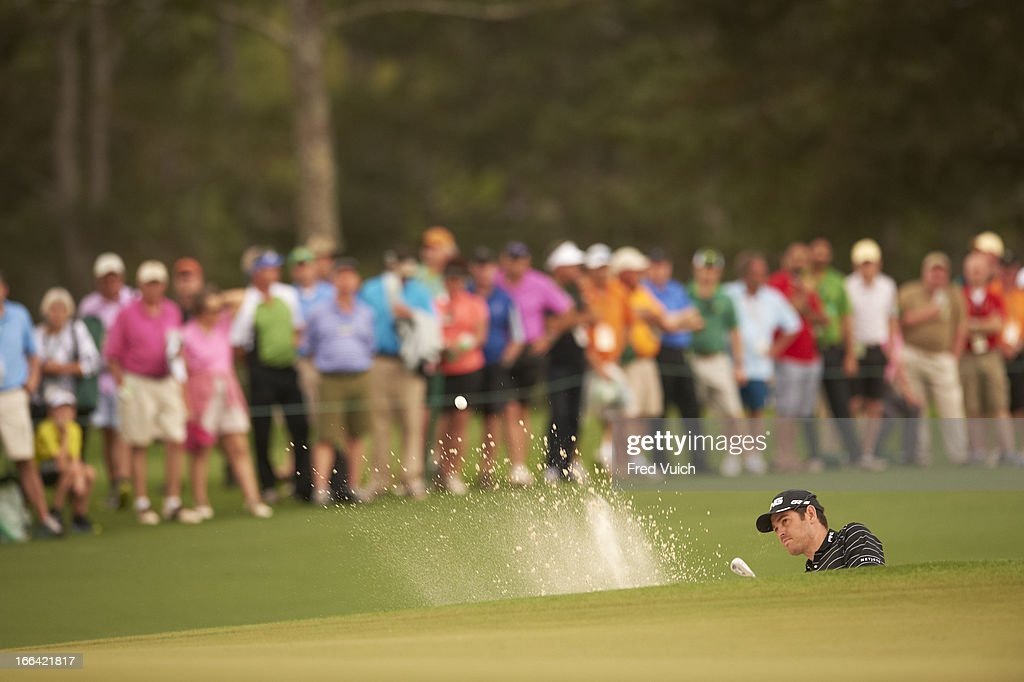Louis Oosthuizen in action from sand during Thursday play at Augusta National. Fred Vuich F50 )
