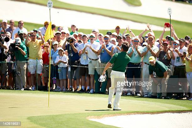 The Masters Louis Oosthuizen victorious after double eagle on No 2 hole during Sunday play at Augusta National Scenic Augusta GA CREDIT Al Tielemans