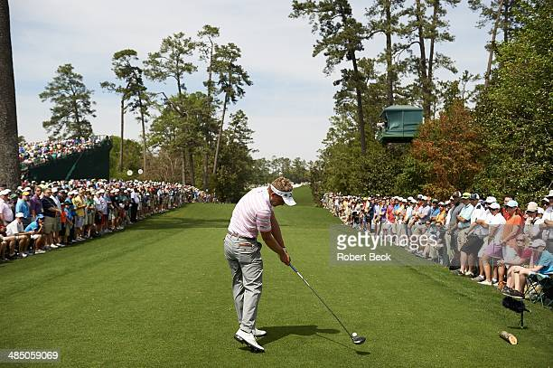 The Masters Luke Donald in action drive from tee on No 18 during Friday play at Augusta National Augusta GA CREDIT Robert Beck