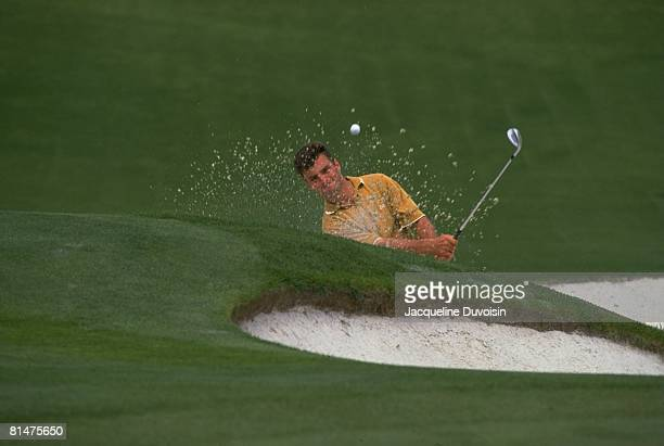 Golf: The Masters, Manny Zerman in action from sand on Thursday at Augusta National, Augusta, GA 4/9/1992