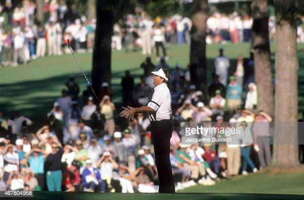 The Masters Raymond Floyd throwing putter in the air on No 15 green during Sunday play at Augusta National Augusta GA CREDIT Jacqueline Duvoisin
