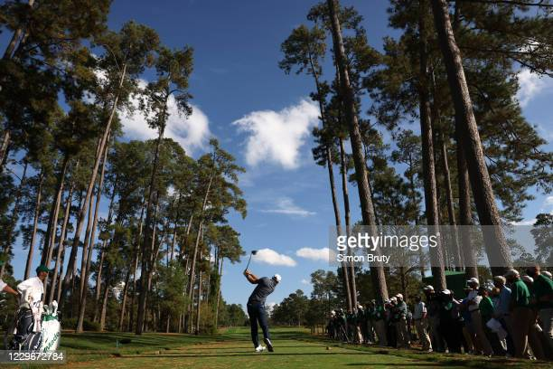 Rear view of Dustin Johnson in action during Sunday play at Augusta National. Augusta, GA CREDIT: Simon Bruty