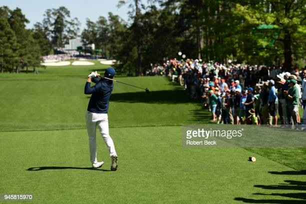 The Masters Rear view of Jordan Spieth in action drive during Thursday play at Augusta National Augusta GA CREDIT Robert Beck