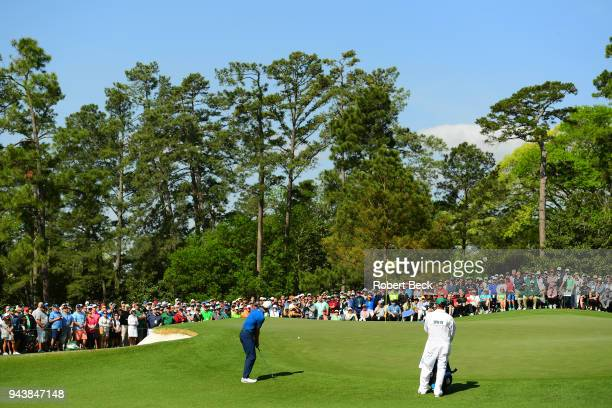The Masters Rear view of Jordan Spieth in action during Friday play at Augusta National Augusta GA CREDIT Robert Beck