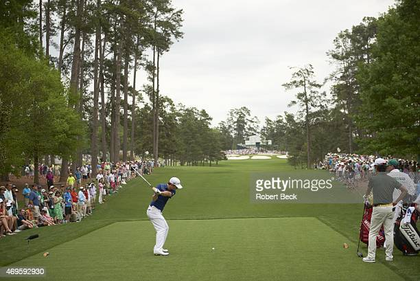 The Masters Rear view of Kevin Streelman in action drive from No 7 tee during Sunday play at Augusta National Augusta GA CREDIT Robert Beck