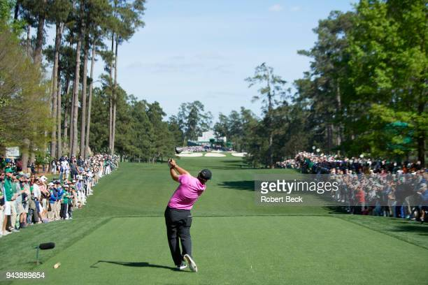 The Masters Rear view of Patrick Reed in action during Sunday play at Augusta National Augusta GA CREDIT Robert Beck