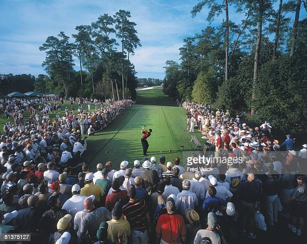 Golf The Masters Rear view of Tiger Woods in action drive from tee on No 18 during Sunday play at Augusta National Scenic view of fans in gallery...