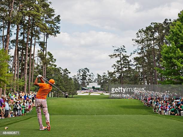 The Masters Rickie Fowler in action drive from tee on No 7 during Sunday play at Augusta National Augusta GA CREDIT Robert Beck