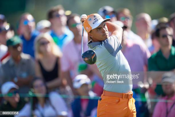 The Masters Rickie Fowler in action during Sunday play at Augusta National Augusta GA CREDIT Robert Beck