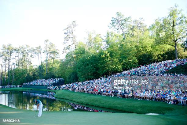 The Masters Sergio Garcia in action putting on No 16 green during Sunday play at Augusta National Augusta GA CREDIT Robert Beck