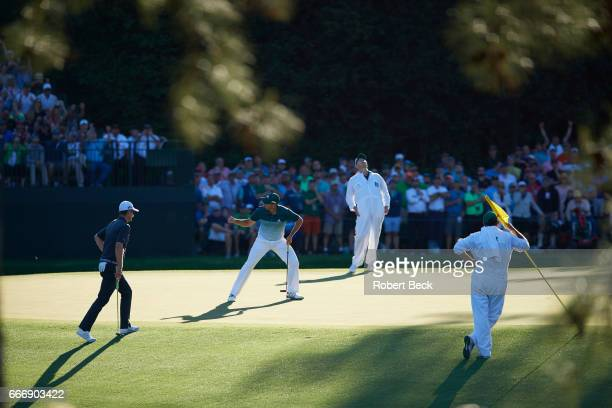 The Masters Sergio Garcia victorious after making eagle putt on No 15 during Sunday play at Augusta National Augusta GA CREDIT Robert Beck