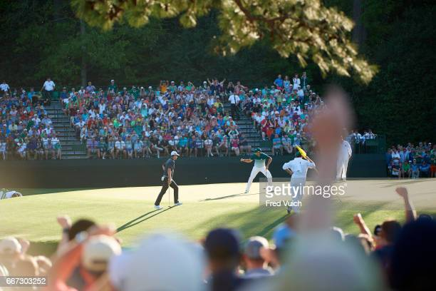 The Masters Sergio Garcia victorious after making eagle putt on No 15 hole during Sunday play at Augusta National Augusta GA CREDIT Fred Vuich