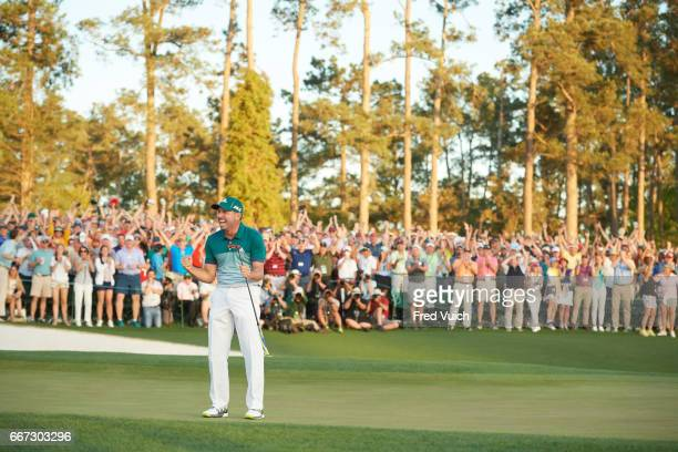 The Masters Sergio Garcia victorious after making final putt during playoff during Sunday play at Augusta National Augusta GA CREDIT Fred Vuich