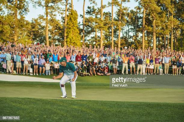 The Masters Sergio Garcia victorious after making final putt during playoff during Sunday play at Augusta National Cover Augusta GA CREDIT Fred Vuich