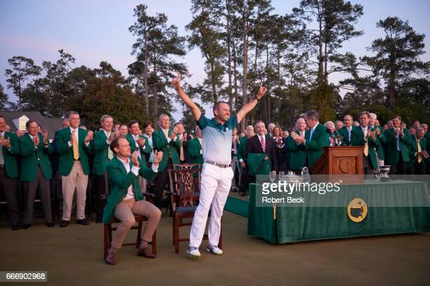 The Masters Sergio Garcia victorious during green jacket ceremony after Sunday play at Augusta National Augusta GA CREDIT Robert Beck