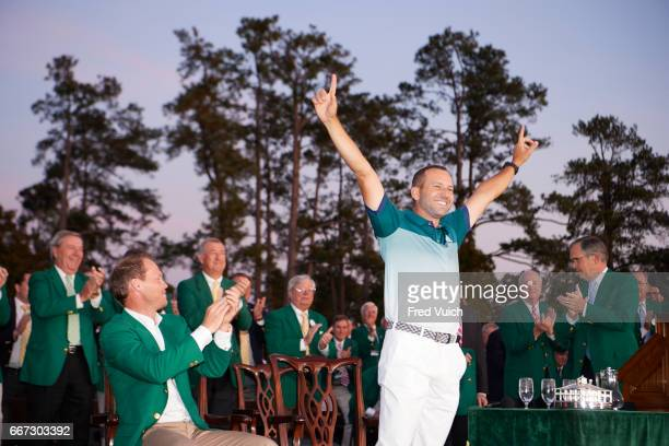 The Masters Sergio Garcia victorious during green jacket ceremony after Sunday play at Augusta National Augusta GA CREDIT Fred Vuich