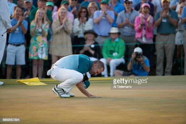 The Masters Sergio Garcia victorious during Sunday play at Augusta National Augusta GA CREDIT Al Tielemans