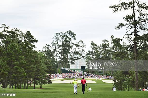The Masters Tiger Woods and Rory McIlroy walk off No 7 tee during Sunday play at Augusta National Augusta GA CREDIT Robert Beck