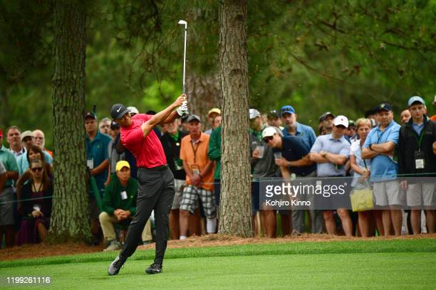 Tiger Woods in action on No 1 fairway during Sunday play at Augusta National. Augusta, GA 4/14/2019 CREDIT: Kohjiro Kinno