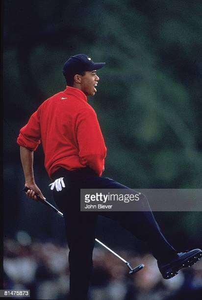 Golf The Masters Tiger Woods reacting to shot during Sunday play at Augusta National Augusta GA 4/13/1997