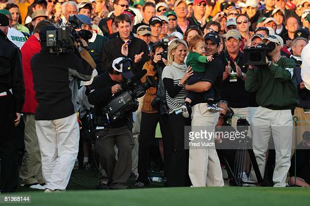 Golf The Masters Trevor Immelman victorious with wife Carminita and son Jacob after winning tournament on Sunday at Augusta National GC Augusta GA...