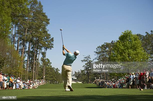 The Masters View from rear of Ernie Els in action drive from No 7 tee during Thursday play at Augusta National Augusta GA CREDIT Robert Beck