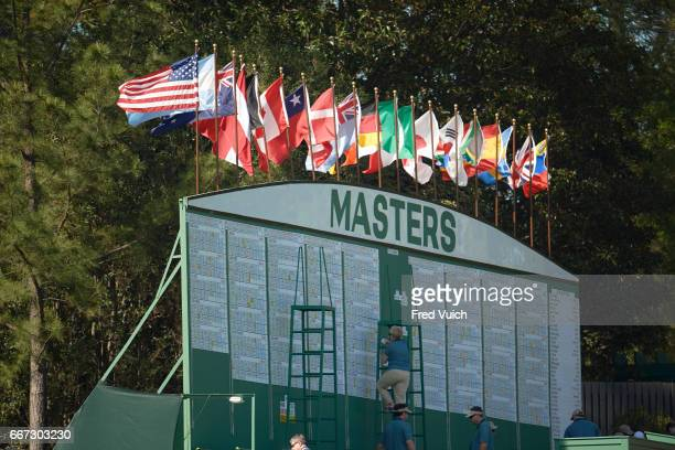 The Masters View of flag over scoreboard during Sunday play at Augusta National Augusta GA CREDIT Fred Vuich