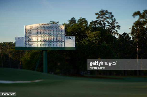 The Masters View of leaderboard during Sunday play at Augusta National Augusta GA CREDIT Kohjiro Kinno