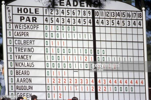 The Masters View of leaderboard during Thursday play at Augusta National Augusta GA CREDIT Neil Leifer