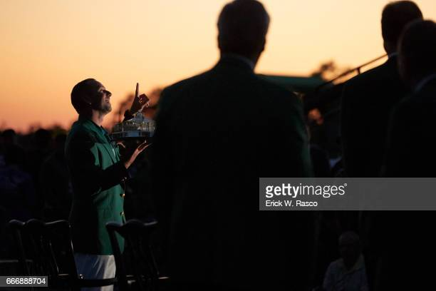 The Masters View of Sergio Garcia victorious with trophy during during green blazer ceremony after winning playoff and tournament on Sunday at...