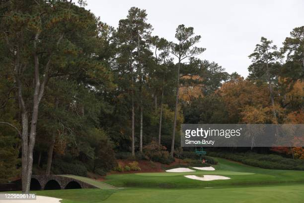 View of television camera in tent and bridge during Tuesday practice at Augusta National. Augusta, GA CREDIT: Simon Bruty