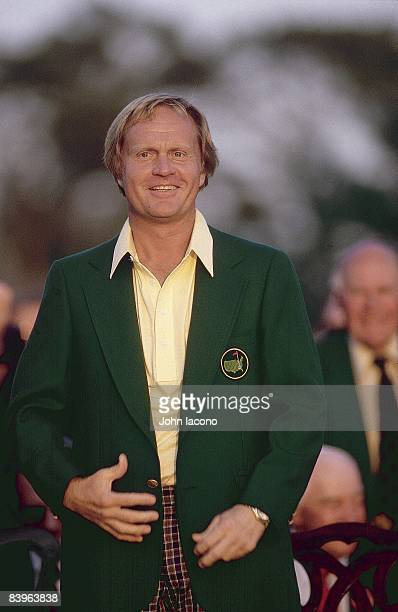 The Masters Winner Jack Nicklaus victorious wearing green blazer at Augusta National Golf Course Augusta GA 4/13/1986 CREDIT John Iacono