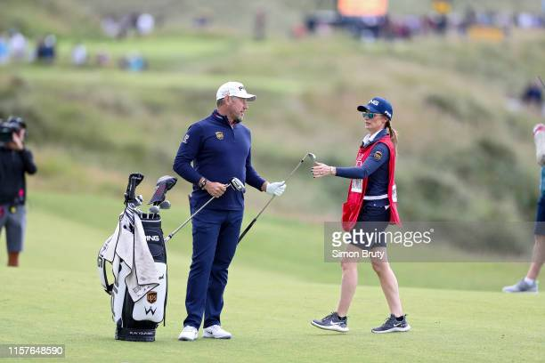 The Open Championship Lee Westwood with caddie and girlfriend Helen Storey during Saturday play at the Dunluce Course of Royal Portrush GC Portrush...