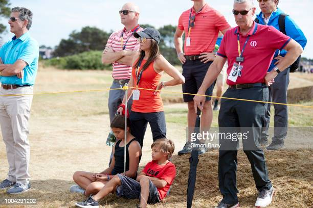 The Open Championship Tiger Woods girlfiriend Erica Herman with his daughter Sam and son Charlie during Sunday play at Carnoustie Golf Links...
