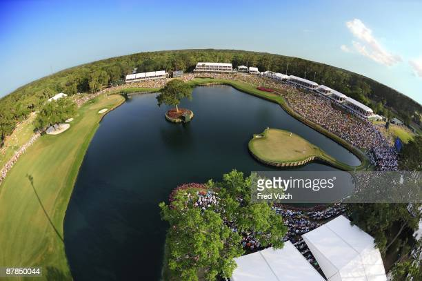 The Players Championship Aerial scenic view of Henrik Stenson and Ben Crane on No 17 island green during Sunday play at Stadium Course of TPC...