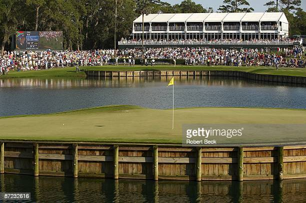 The Players Championship: Ernie Els in action, drive from tee on No 17 during Friday play at Stadium Course of TPC Sawgrass. View of ball of Tiger...