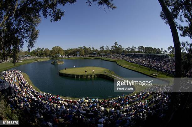 Golf: The Players Championship, Scenic view of Tiger Woods in action, putt on No, 17 island green during Sunday play at TPC Sawgrass, Ponte Vedra, FL...