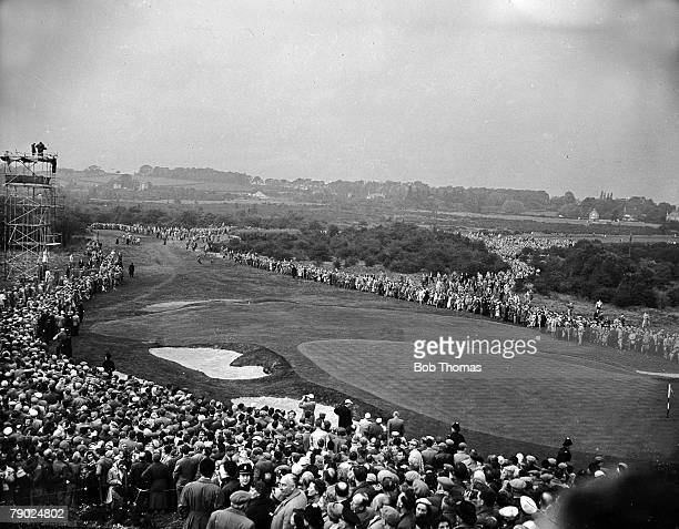 Golf The Ryder Cup Lindrick England Great Britain and Ireland 7 v United States 4 A picture of the 18th Fairway surrounded by massed crowds watching...
