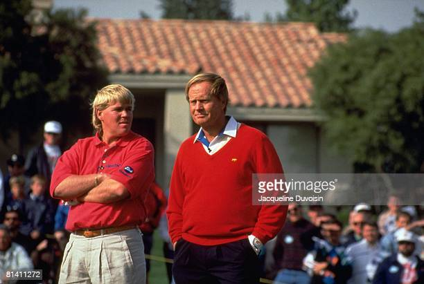 Golf: The Skins Game, John Daly and Jack Nicklaus during tournament, La Quinta, CA