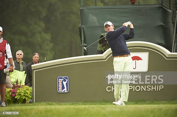 Travelers Championship Brandt Snedeker in action drive during Sunday play at TPC River Highlands Cromwell CT CREDIT Carlos M Saavedra
