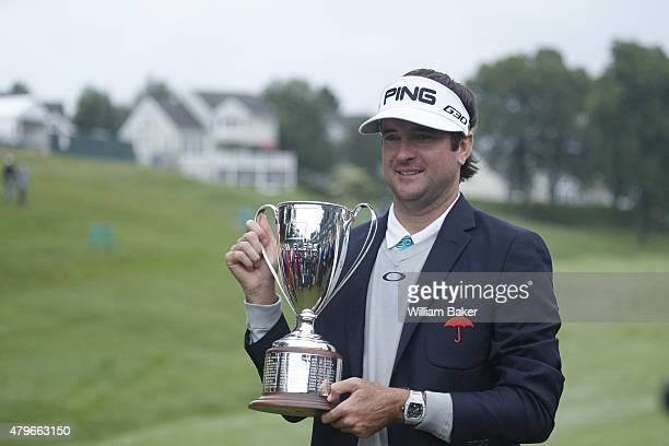 Travelers Championship Bubba Watson victorious with trophy after winning tournament on Sunday at TPC River Highlands Cromwell CT CREDIT William Baker