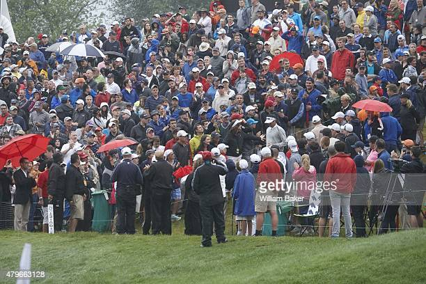 Travelers Championship Overall view of spectators lookin on as Bubba Watson approaches No 18 hole during Sunday playoff vs Paul Casey at TPC River...