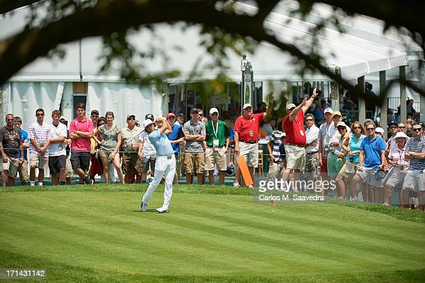Travelers Championship Rickie Fowler in action drive during Friday play at TPC River Highlands Cromwell CT CREDIT Carlos M Saavedra