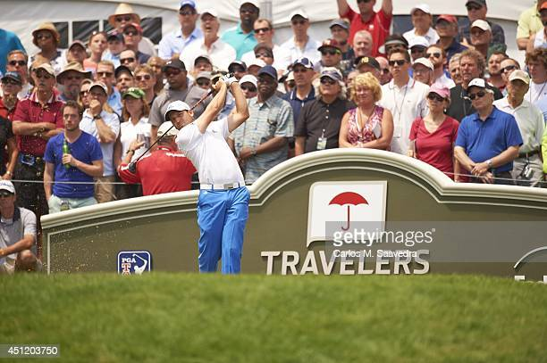 Travelers Championship Sergio Garcia in action drive during Sunday play at TPC River Highlands Cromwell CT CREDIT Carlos M Saavedra