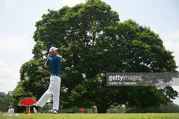 Travelers Championship Webb Simpson in action drive during Friday play at TPC River Highlands Cromwell CT CREDIT Carlos M Saavedra