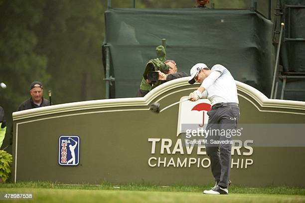Travelers Championship Zach Johnson in action drive during Sunday play at TPC River Highlands Cromwell CT CREDIT Carlos M Saavedra