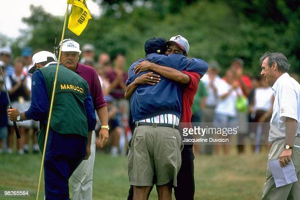 US Amateur Championship Tiger Woods victorious hugging father Earl Woods after winning on Sunday at Newport CC Newport RI 8/27/1995 CREDIT Jacqueline...