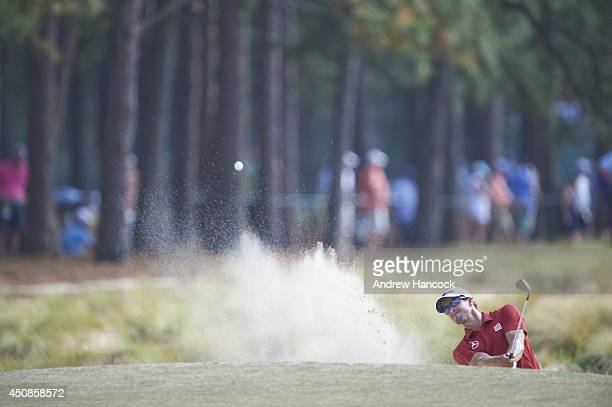 US Open Adam Scott in action from bunker on No 12 hole during Saturday play at Course No 2 of Pinehurst Resort Pinehurst NC CREDIT Andrew Hancock