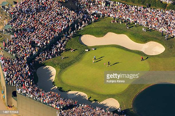 US Open Aerial view from MetLife blimp of Tiger Woods victorious after making birdie putt on No 18 during Sunday play at Torrey Pines GC La Jolla CA...