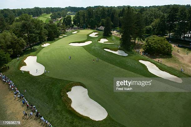 US Open Aeriel view of Rickie Fowler Sergio Garcia and Robert Karlsson on No 1 fairway during Saturday play at Merion GC Scenic Ardmore PA CREDIT...